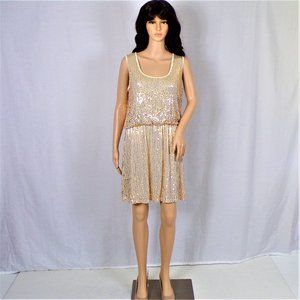 Party dress size L champagne & gold